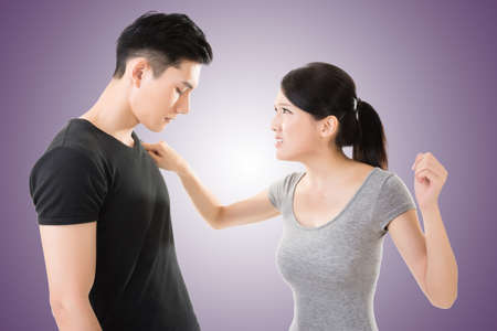 couple fight: Asian couple argue, closeup portrait with two people. Stock Photo