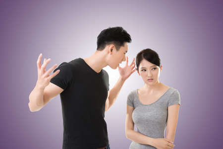 pareja enojada: Asian couple argue, closeup portrait with two people. Foto de archivo