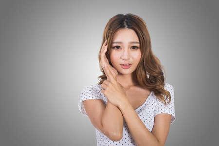 pretty face: Young Asian woman, portrait at studio.