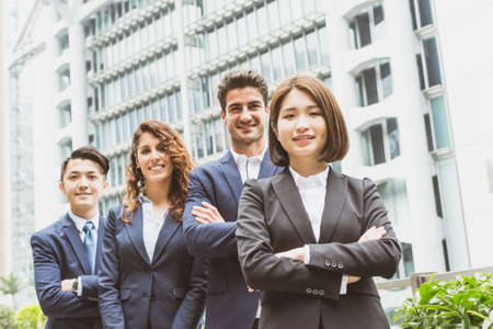 team leadership: Group of business people from different country Stock Photo