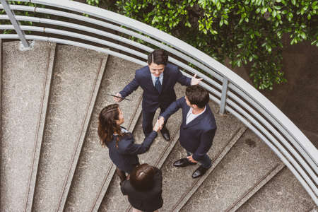 asian business man: Top view of business people hand shaking to each other