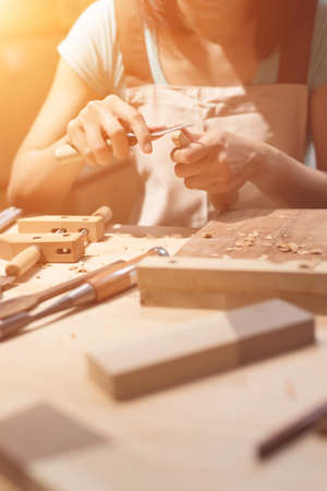 woodworker: woman carpentry at home, wooden work concept Stock Photo