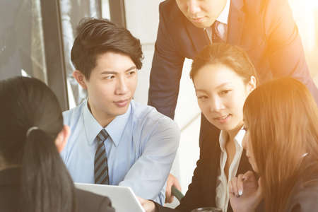 group of business people: Business people discuss or meeting in the city Stock Photo
