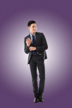 korean man: Attractive young Asian businessman, full length portrait isolated