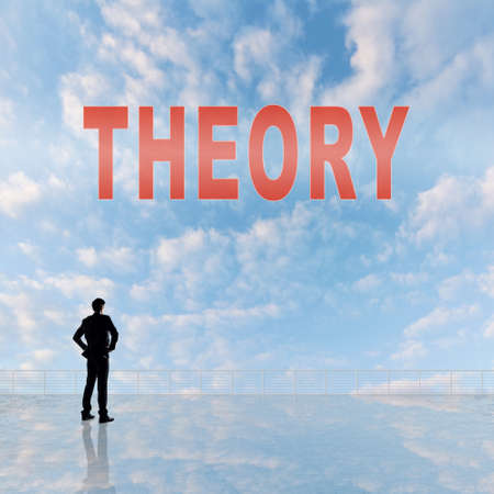 freedom of thought: Concept of abstract concept with text on the sky and one man look at it.