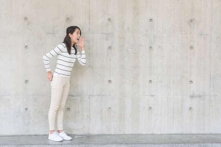 Woman shouting something