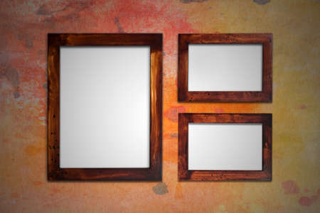 frame on wall: old wooden picture frame on wall