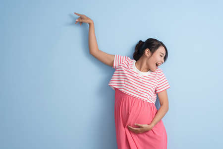 happy dancing pregnant woman, closeup portrait Stock Photo