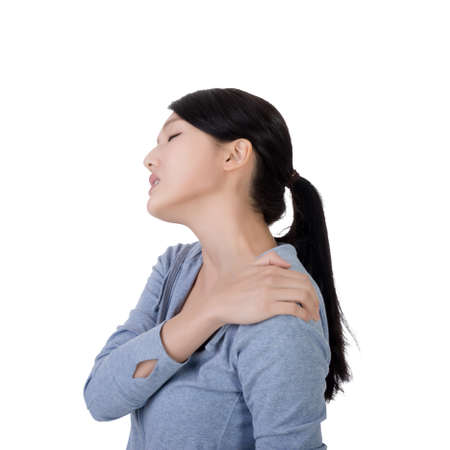 personne malade: young asian woman with neck pain