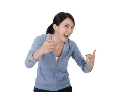 isolated woman: young asian woman laughing with funny face Stock Photo