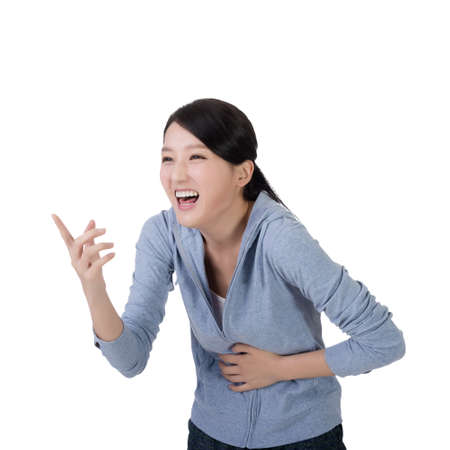 laughing face: young asian woman laughing with funny face Stock Photo