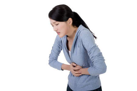 young asian woman with stomach pain 스톡 콘텐츠