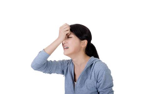 hurt: asian woman face with sadness, closeup portrait Stock Photo