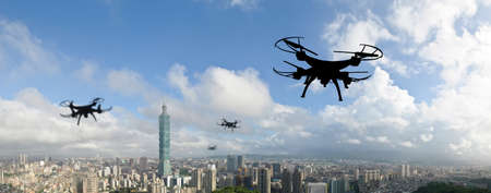 silhouette of drone flight in the city, Taipei Stock Photo