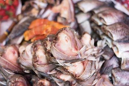 fish vendor: dried fish at the traditional market in Bangkok, Thailand