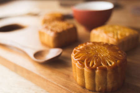 Chinese mid autumn festival food of mooncake with tea
