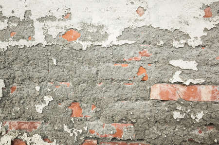 Red brick texture with cracked dirty wall