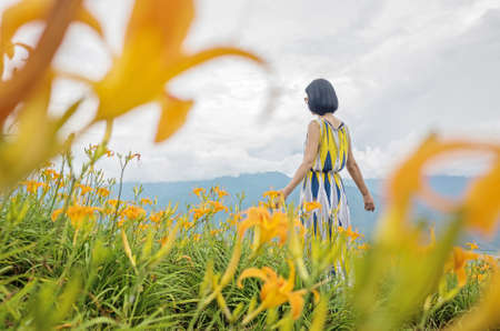 asian woman feel free and stand in the yellow tiger lily farm Stock Photo - 116619701