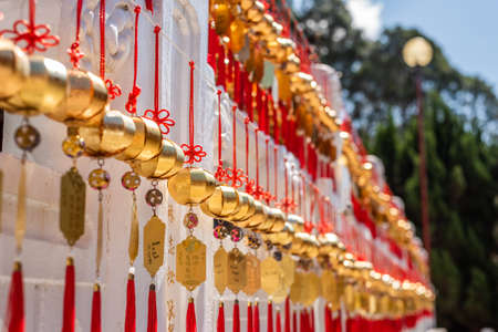 Nantou, Taiwan - FEB 12th, 2019: wall of wish in Wenwu Temple near Sun Moon Lake at Yuchi, Nantou, Taiwan, Asia