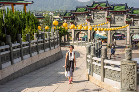Nantou, Taiwan - April 6th, 2019:famous landmark of BaoHu Dimu Temple at Puli township, Nantou, Taiwan, Asia Editorial
