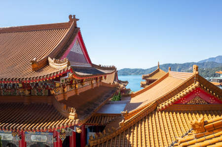 traditional roof at Wenwu temple in Sun Moon Lake, Taiwan 스톡 콘텐츠