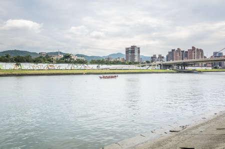 Taipei, Taiwan - Jun 8th, 2019: competitive boat racing in the traditional Dragon Boat Festival in Taipei, Taiwan, Asia