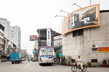 Nantou, Taiwan - May 24th, 2019: bus place at Kuo-Kuang Motor Transport Station at Puli town, Nantou, Taiwan