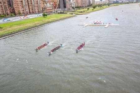 Taipei, Taiwan - Jun 9th, 2019: competitive boat racing in the traditional Dragon Boat Festival in Taipei, Taiwan, Asia