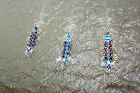 Taipei, Taiwan - Jun 9th, 2019: competitive boat racing in the traditional Dragon Boat Festival in Taipei, Taiwan, Asia