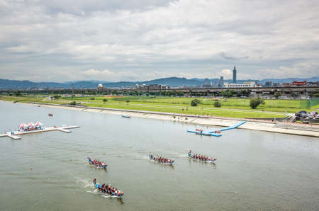 Taipei, Taiwan - Jun 8th, 2019: competitive boat racing in the traditional Dragon Boat Festival in Taipei, Taiwan, Asia