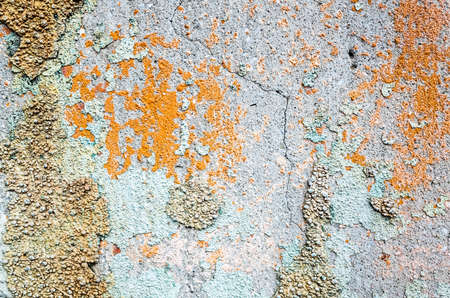 background of cement wall with colorful dirty cracked texture Banco de Imagens