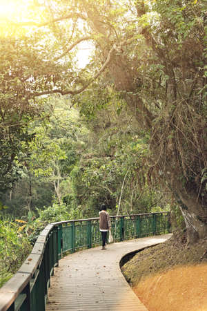 Asian woman hiking at the path in the outdoor
