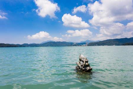 Nine Frog Statue stacks in Sun Moon Lake at Taiwan, Asia Stock Photo