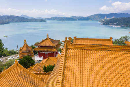 traditional roof at Wenwu temple in Sun Moon Lake, Taiwan Stock Photo