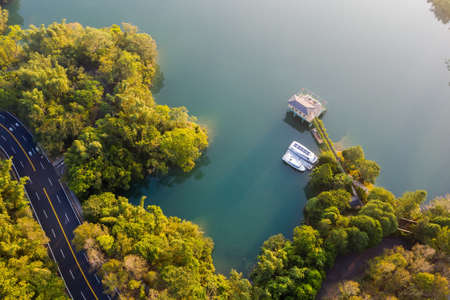 landscape of house over water in famous Sun Moon Lake at Nantou, Taiwan