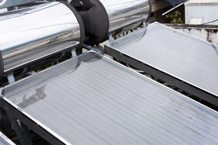 solar water heater on a roof in the outdoor