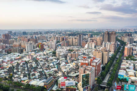 Taichung, Taiwan - September 13th, 2019: cityscape of Taichung city with skyscrapers and buildings at Taichung City, Taiwan, Asia