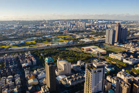 Taichung, Taiwan - November 28th, 2019: cityscape of Taichung city with skyscrapers and buildings at Taichung City, Taiwan, Asia 新聞圖片