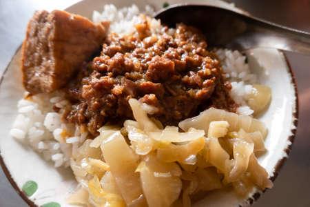 Taiwanese snacks of Chinese braised pork on rice Standard-Bild