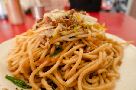 Taiwanese dry oil noodles on the table in a restaurant