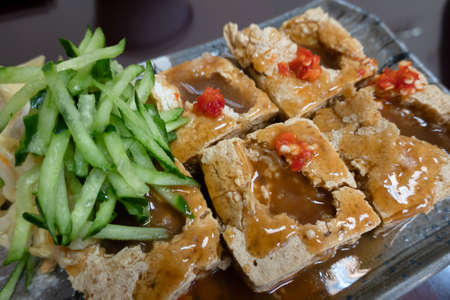 stinky tofu, famous Taiwanese snack in a store