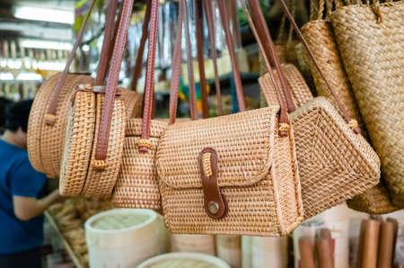 traditional bamboo bags hanging in a marketplace at Taiwan