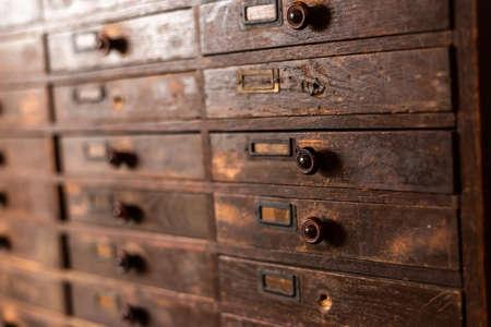 old wooden vintage cabinet, closeup image indoor