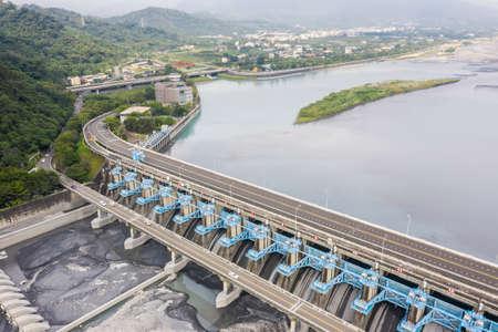landmark of Jiji weir, the management center of Zhuo-Shui river water at Jiji town, Nantou, Taiwan Stockfoto