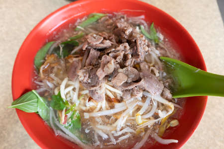 local food of noodles in lamb thick soup in a bowl at Taiwan