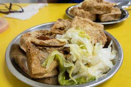 Taiwanese traditional stinky tofu on the table Stockfoto