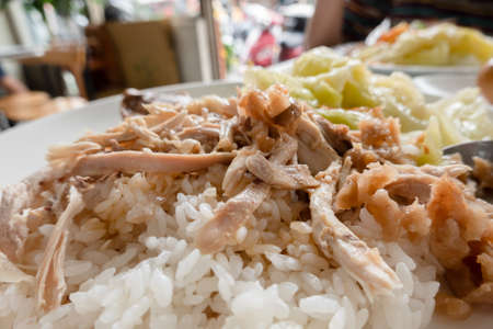 Taiwanese traditional food of shred chicken rice on table Stockfoto