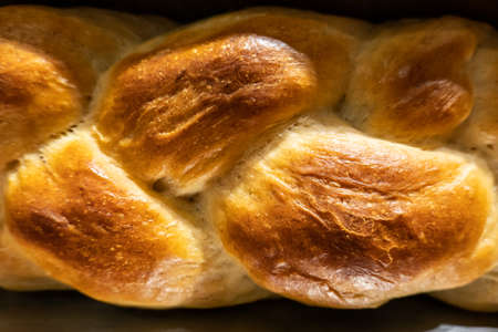 texture of bread with brown baked color, closeup image Stockfoto