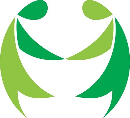 La cinta verde que describen un par cooperativismo Foto de archivo - 10002895