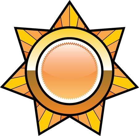 Golden seven peak star badge Vector
